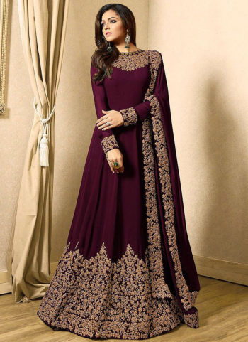 Mgenta and Gold Embroidered Anarkali