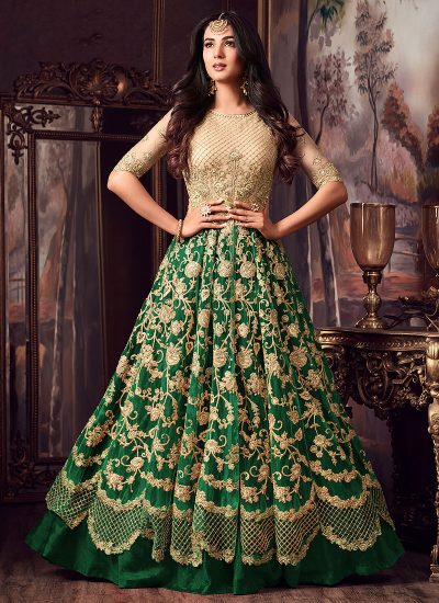Gold and Green Embroidered Lehenga Style Anarkali
