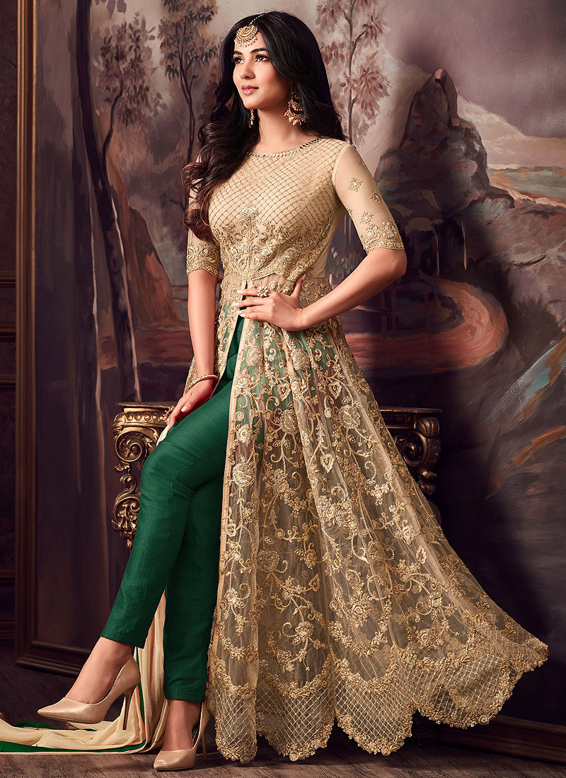Gold and Green Embroidered Pant Style Anarkali