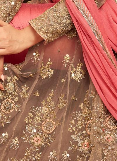 Beige and Pink Embroidered Lehenga Anarkali