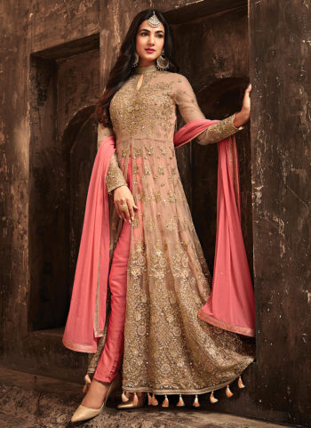 Beige and Pink Embroidered Pant Style Anarkali