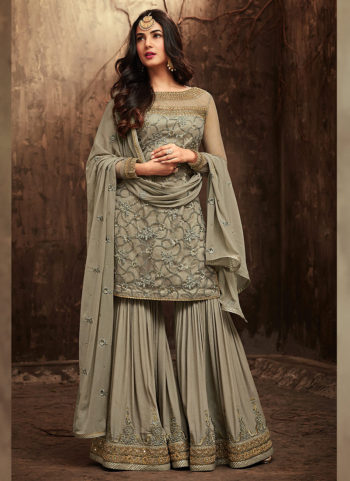 Light Green Embroidered Gharara Suit
