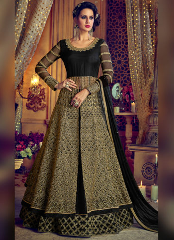 Black and Gold Embroidered Lehenga / Pant Style Anarkali
