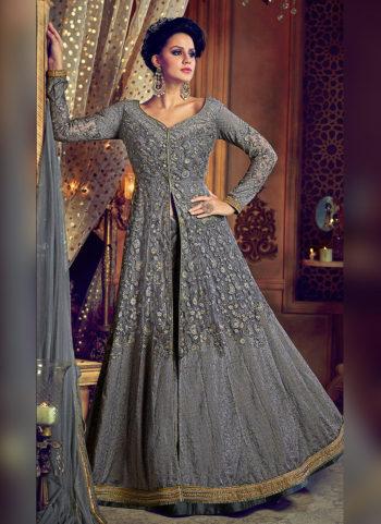 Grey Embroidered Lehenga / Pant Style Anarkali