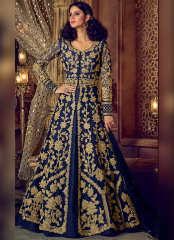 Navy Blue and Gold Embroidered Lehenga / Pant Style Anarkali