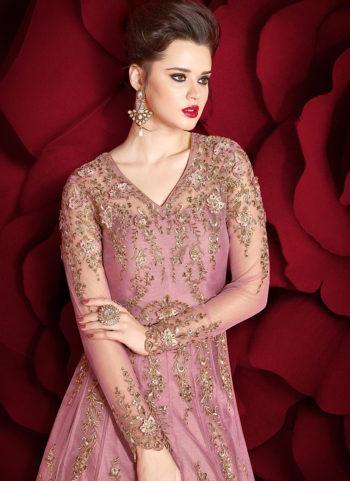Dusty Pink Embroidered Lehenga/ Pant Style Anarkali