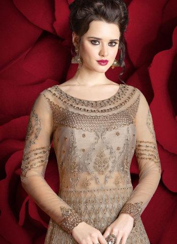 Grey Embroidered Lehenga/ Pant Style Anarkali