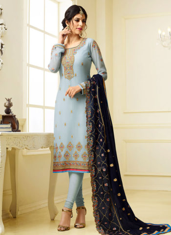 Light Blue Embroidered Straight  Suit