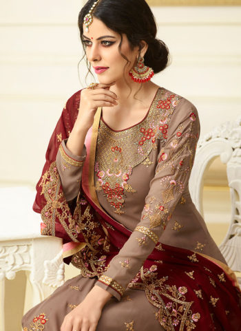 Light Brown Embroidered Straight  Suit