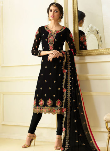 Black Embroidered Straight  Suit