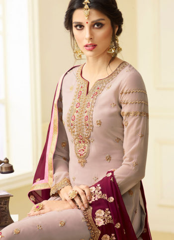 Light Grey Embroidered Straight  Suit
