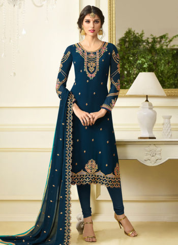 Blue Embroidered Straight  Suit