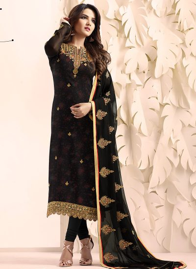 Black and Gold Embroidered Straight Suit