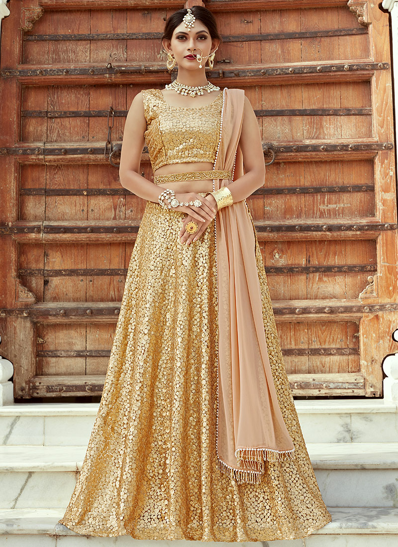 Gold Sequins Embroidered Lehenga Falakenoor Boutique
