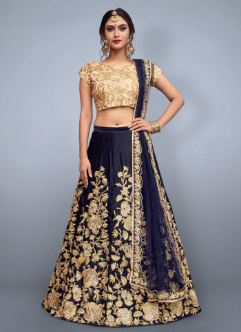 Navy Blue and Beige Embroidered Lehenga