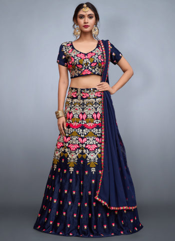 Navy Blue Floral Embroidered Lehenga