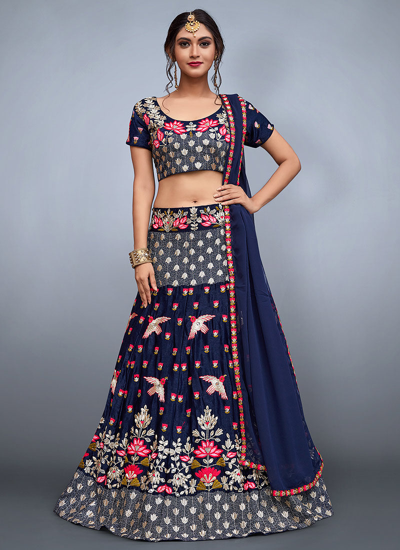 9f3153ac67aa44 Navy Blue Embroidered Lehenga – Falakenoor Boutique