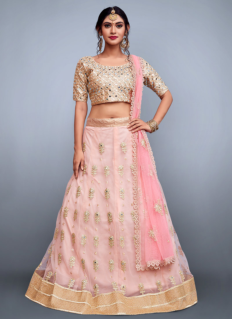 Peach And Beige Embroidered Lehenga Falakenoor Boutique