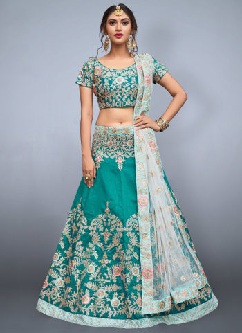 Green and Beige Embroidered Lehenga