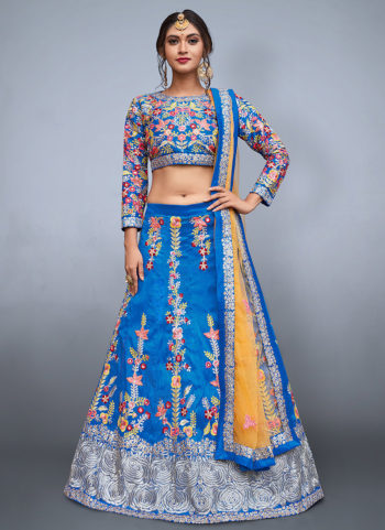 Blue and Yellow Embroidered Lehenga