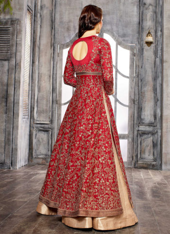 Red and Cream Embroidered Lehenga/ Pant Suit