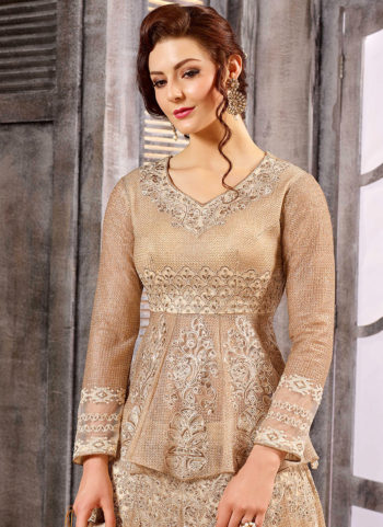 Beige and Gold Embroidered Gown