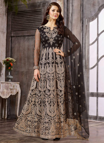 Black Heavy Embroidered Gown