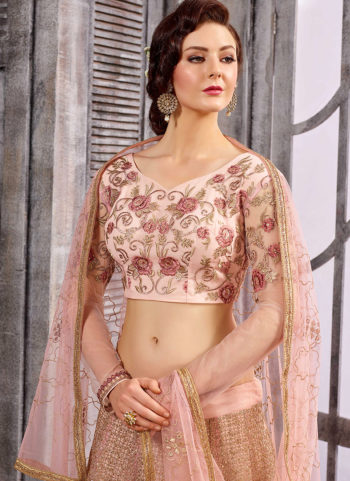 Light Pink and Gold Embroidered Jacket Style Lehenga