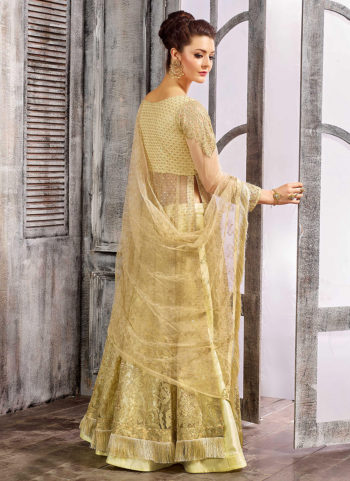 Golden Yellow Embroidered Lehenga/ Pant Style Anarkali