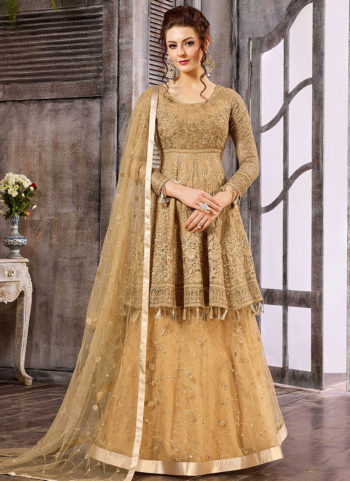 Beige Heavy Embroidered Gown
