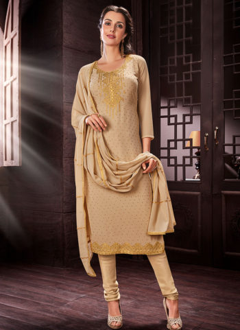 Cream Embroidered Straight Cut Suit