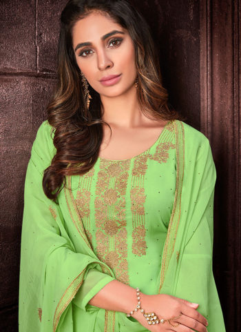 Mint Green Embroidered Straight Cut Suit