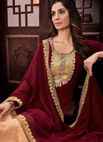 Maroon and Peach Embroidered Straight  Suit