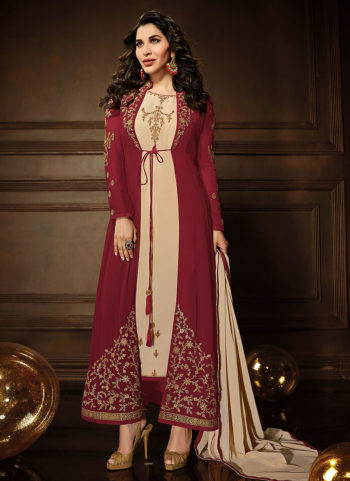 Red and Cream Embroidered Jacket Style Suit