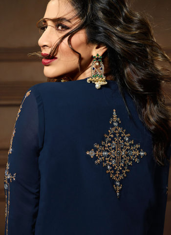 Blue Embroidered Jacket Style Suit
