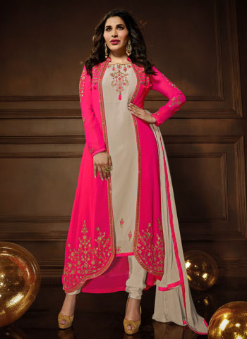 Pink and Light Grey Embroidered Jacket Style Suit