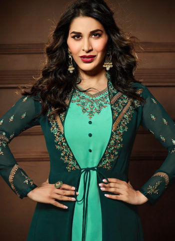 Green Embroidered Jacket Style Suit