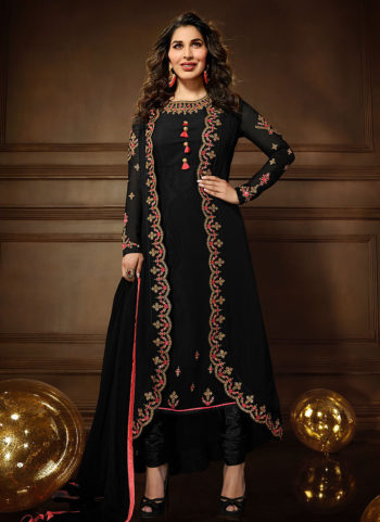 Black Embroidered Jacket Style Suit