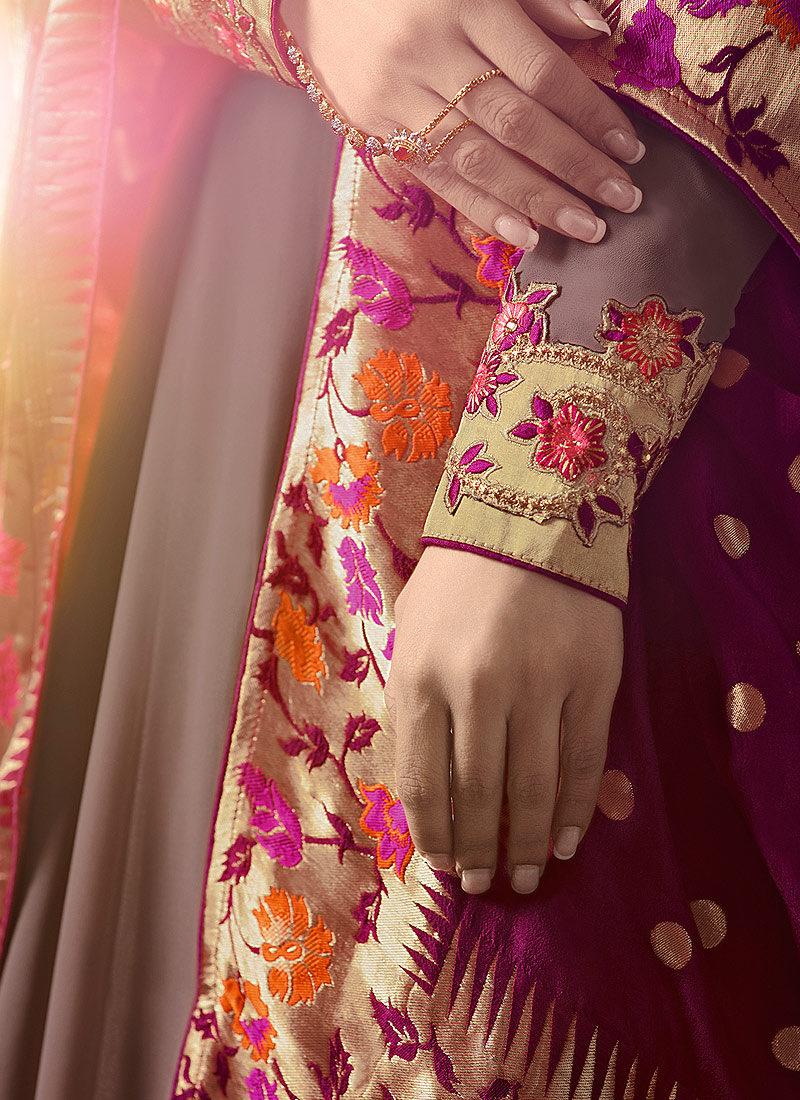Grey Floral Embroidered Anarkali