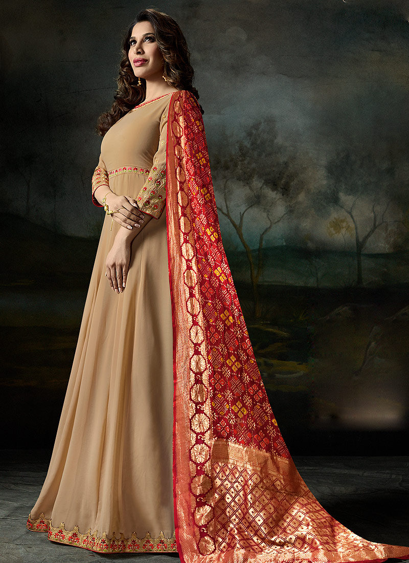 Cream and Red Embroidered Anarkali