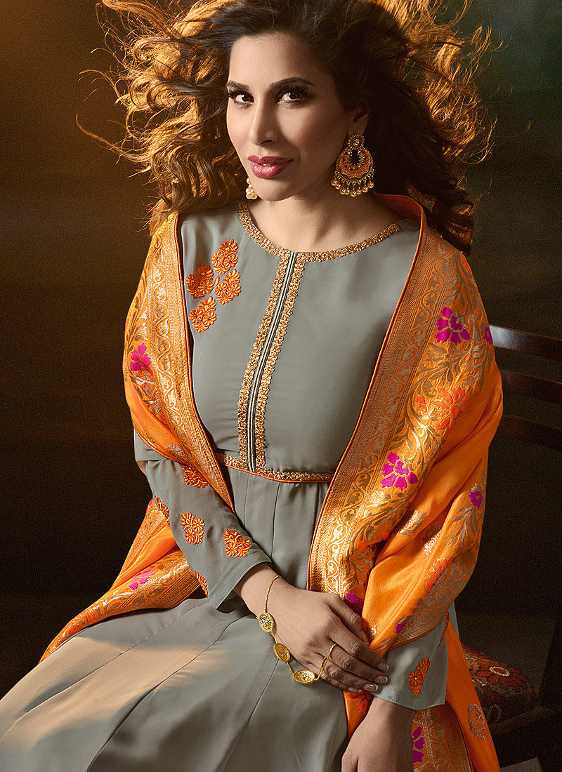 Grey and Orange Embroidered Anarkali