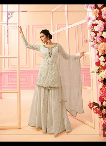Offwhite Embroidered Palazzo Suit