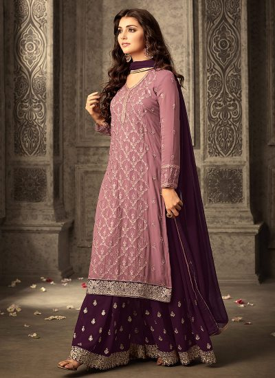 Light Pink and Purple Embroidered Palazzo Suit