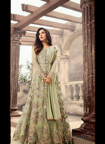 Green and Gold Embroidered Anarkali Gown