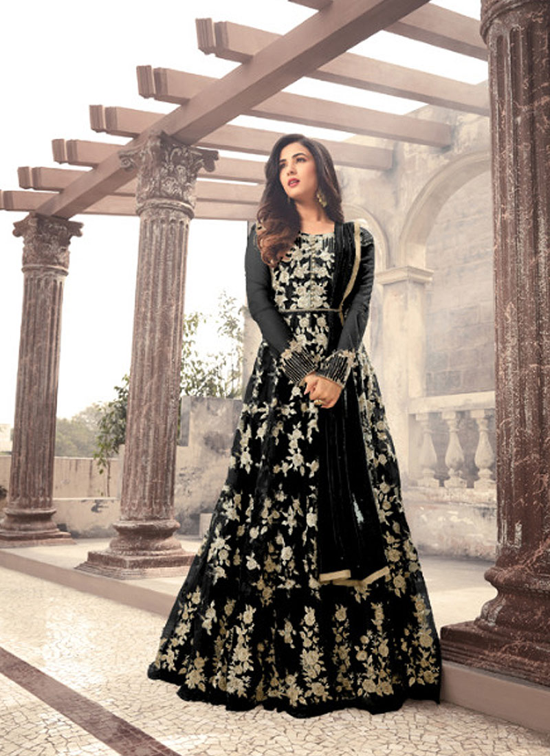 Black and Gold Embroidered Anarkali Gown