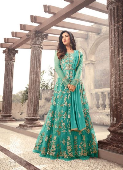 Sea Green and Gold Embroidered Anarkali Gown