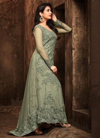 Light Green Embroidered Trail Style Anarkali