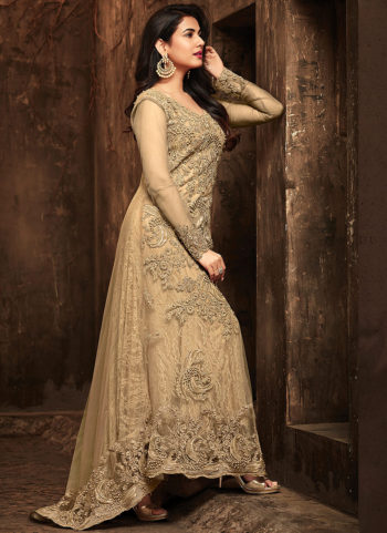 Beige Embroidered Trail Style Anarkali