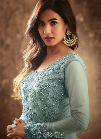 Light Blue Embroidered Trail Style Anarkali