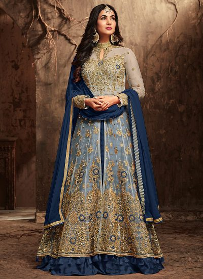 Beige and Blue Embroidered Lehenga/ Pant Style Anarkali